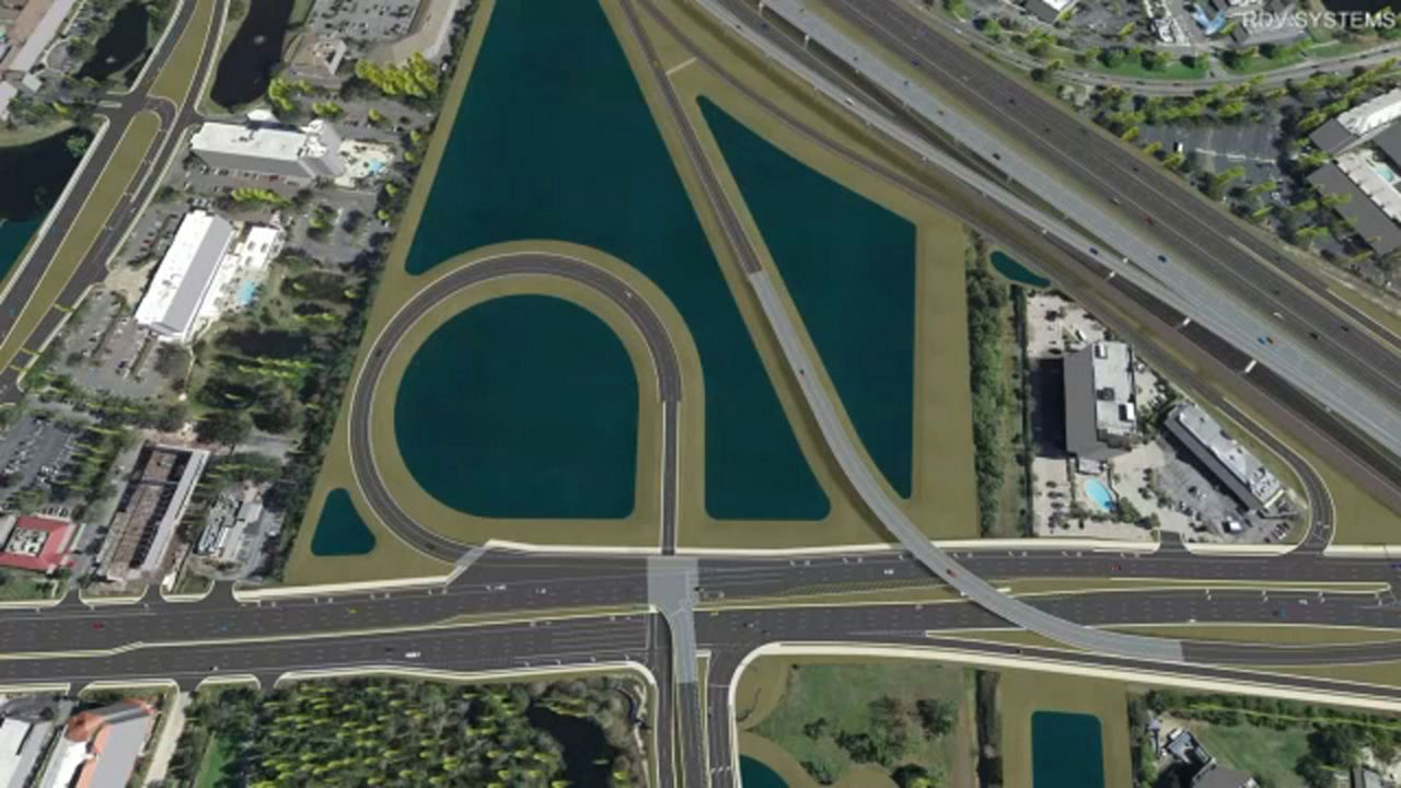 A render from FDOT shows what the new I-4 interchange would look like, on the Crossroads property.